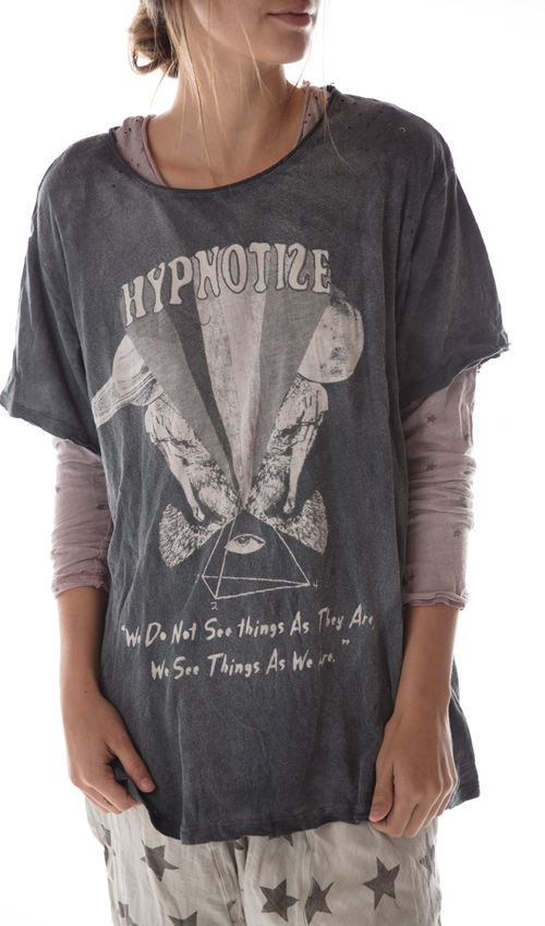 Hypnotize T, New Boyfriend Cut, Mending with Hand Distressing,, and Patching, MagnoliaPearl