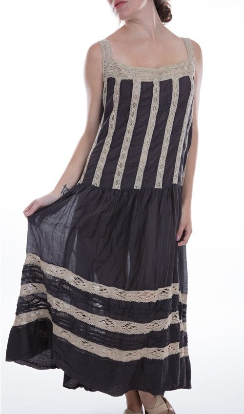 Cotton Silk Amaia Dress with Hand-Made Cotton Lace and Pintucks