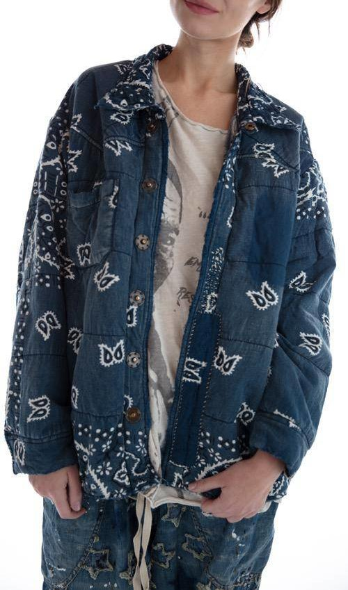 Cotton and Denim Asa Silas Bandana Puff Jacket with Fading, Distressing, Mending, Pockets and Snaps, Magnolia Pearl