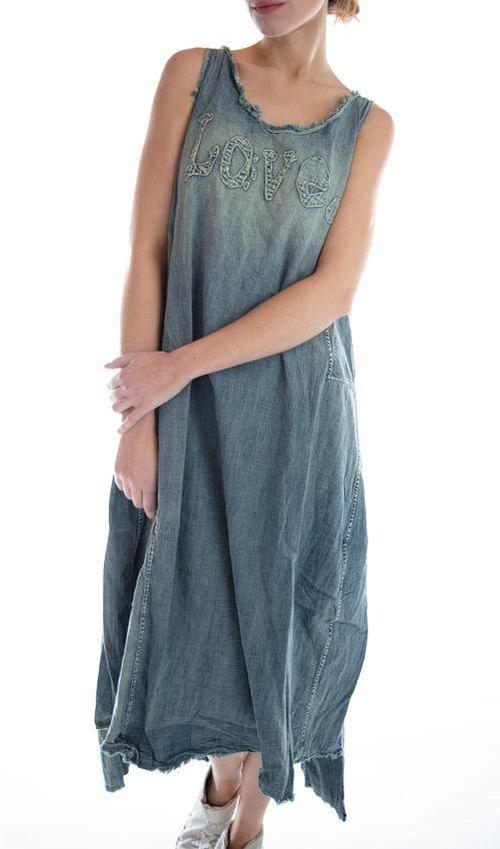 Cotton Denim Love Layla Tank Dress with Raw Edges, Hand Fading, Patching and Distressing, Magnolia Pearl