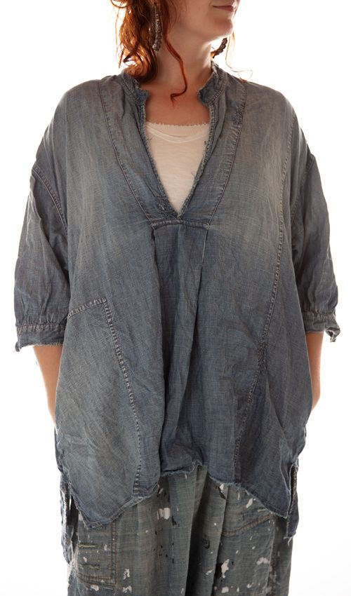 Cotton Denim Deeda Blouse with Pockets, Fading, Mending and Distressing, Magnolia Pearl