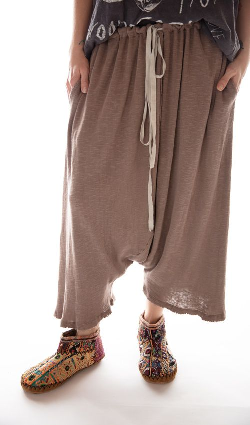 Cotton Jersey Knit Frankie Pants with Drawstring Waist, Magnolia Pearl,