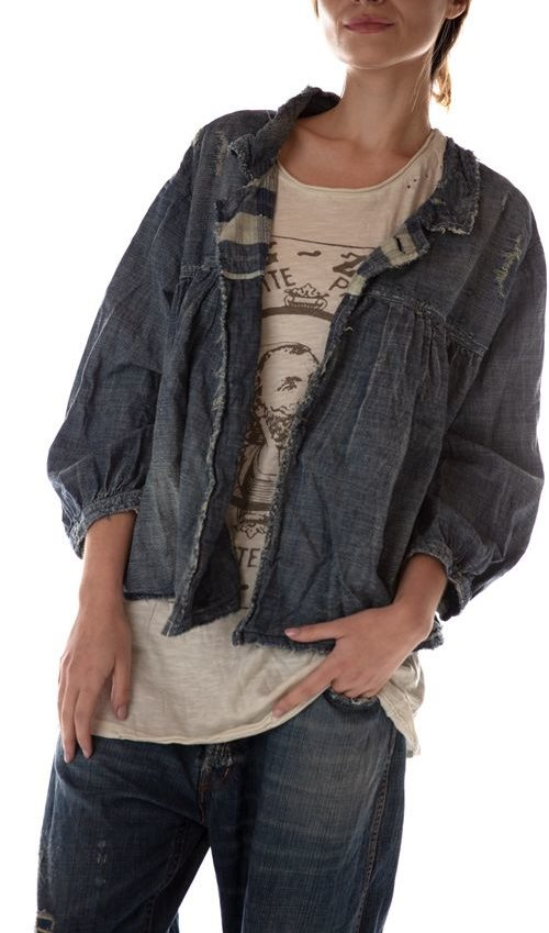 Cotton Denim Bijou Swing Jacket with Hand Distressing, Patching and Mending, Cotton Twill Lining and MP Sanforized Label