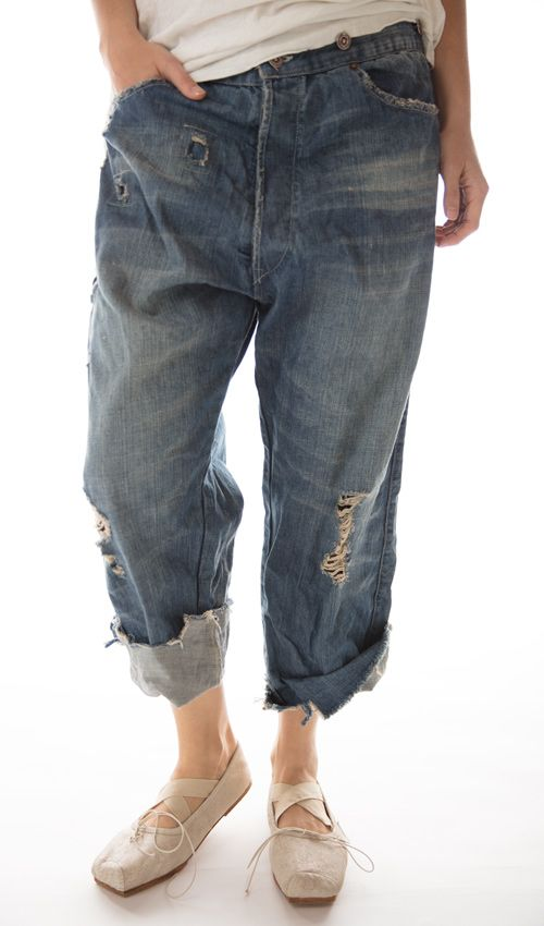 Cotton Miner Denims with Hand Aging, Patching, Distressing and Mending, Button Waist with Buckle at Back, Magnolia Pearl