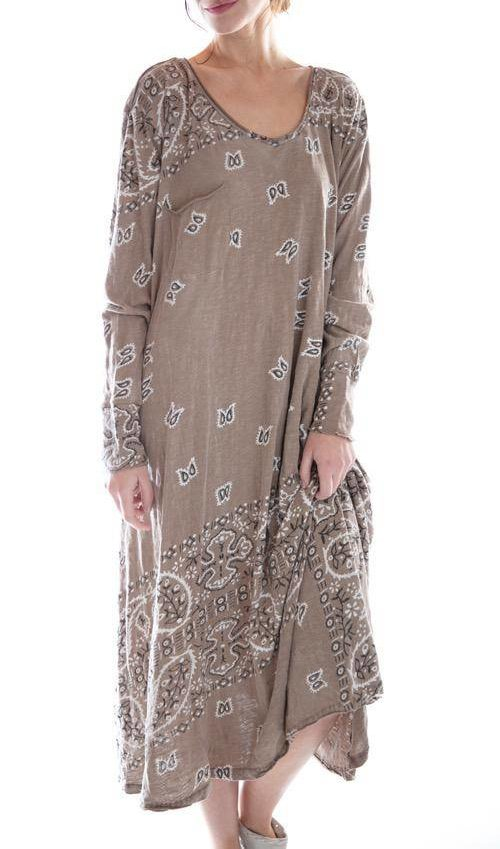 Cotton Jersey Long Sleeve Silas Paisley Sofiane T Dress with Pocket, Magnolia Pearl