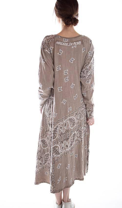 Cotton Jersey Long Sleeve Silas Paisley Sofiane T Dress with Pocket, Magnolia Pearl