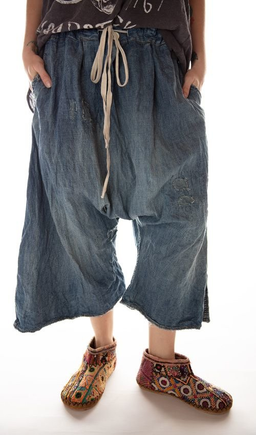 Cotton Denim Jai Wide Leg Trouser with Drawstring Waist and Distressing, Magnolia Pearl