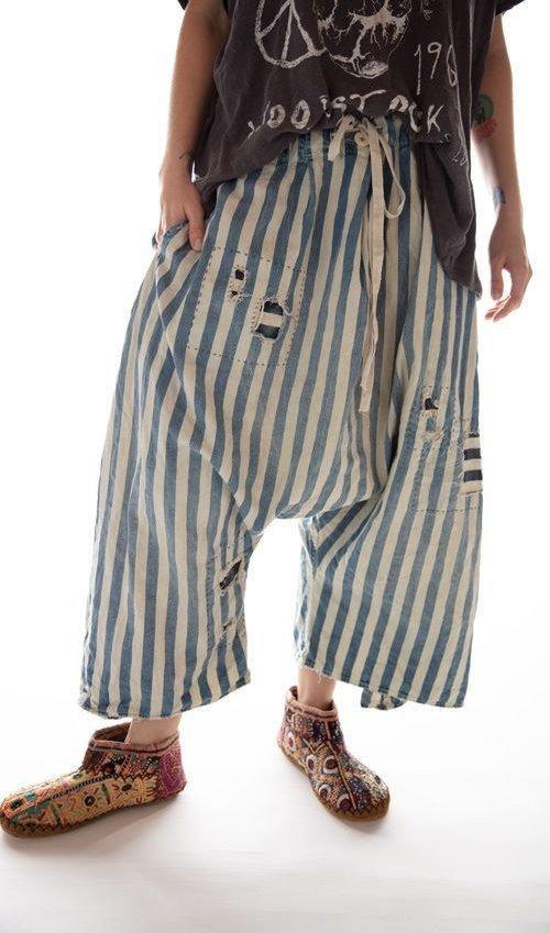 Cotton Denim Jai Wide Leg Trouser with Drawstring Waist and Distressing, Magnolia Pearl