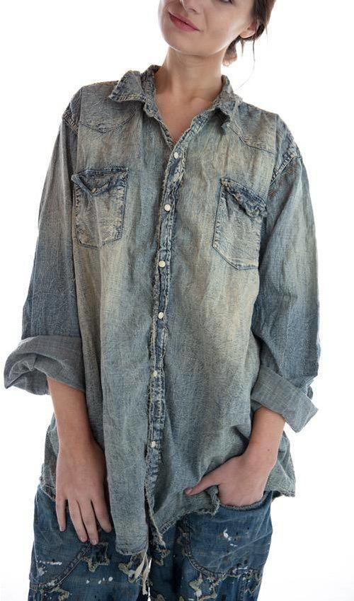 Cotton Denim Magnolia Pearl Snap Shirt with Fading, Distressing and Mending