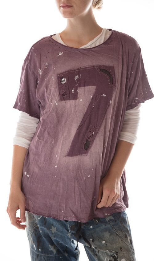 Cotton Jersey Lucky T with Hand Aging and Distressing, New Boyfriend Cut, Magnolia Pearl