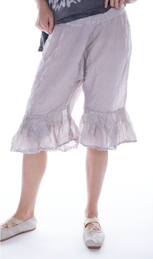 Cotton Silk Wedding Night Bloomers with Floral Embroidery and Pintucks, Magnolia Pearl