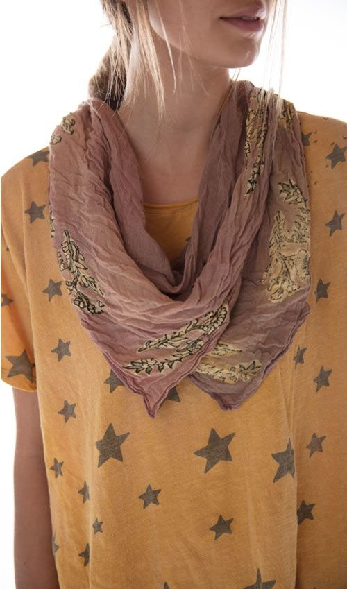 Woven Cotton Mayra Petite Floral Hand Blocked Printed Scarf, Magnolia Pearl