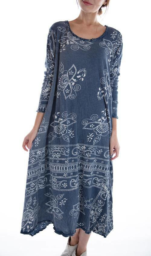 Cotton Jersey Hand Block Print Bali Dylan T Dress, Magnolia Pearl