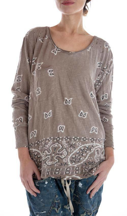 Cotton Jersey Long Sleeve Silas Paisley Venice T with Pocket, Magnolia Pearl