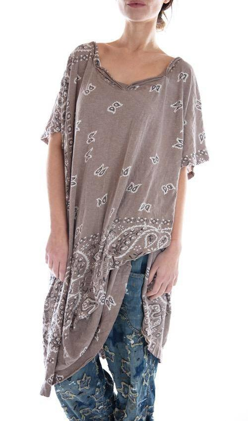 Cotton Jersey Hand Block Print Silas Paisley Beau T Dress, Magnolia Pearl