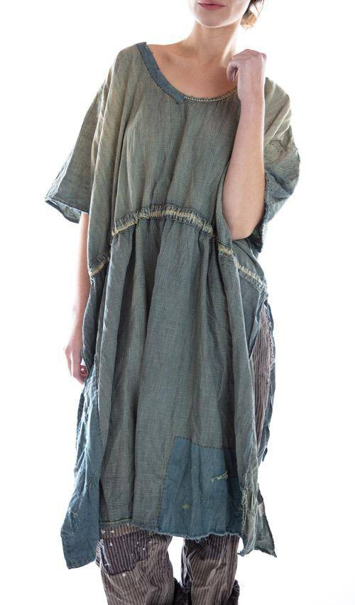 Cotton Denim Blessings Drawstring Kaftan Dress with Patches, Mending, Distressing and Fading, Magnolia Pearl
