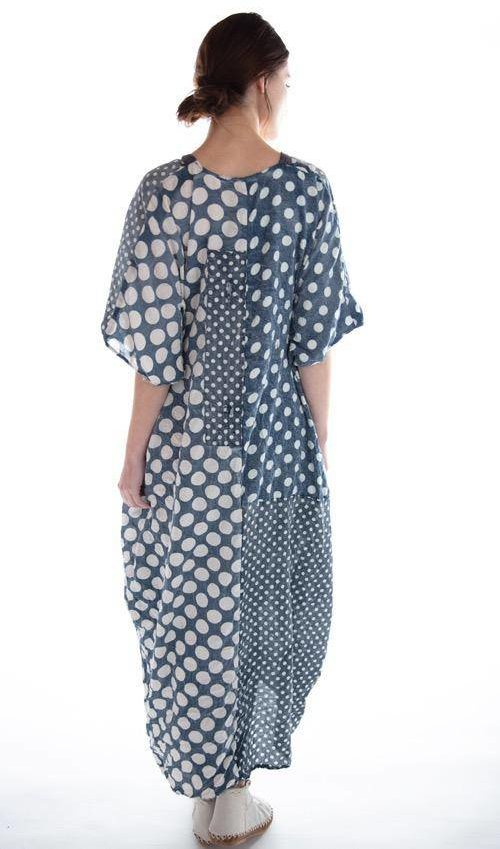Cotton Silk Veda Kaftan with Pockets, Hand Mending, Distressing and Fading, Magnolia Pearl