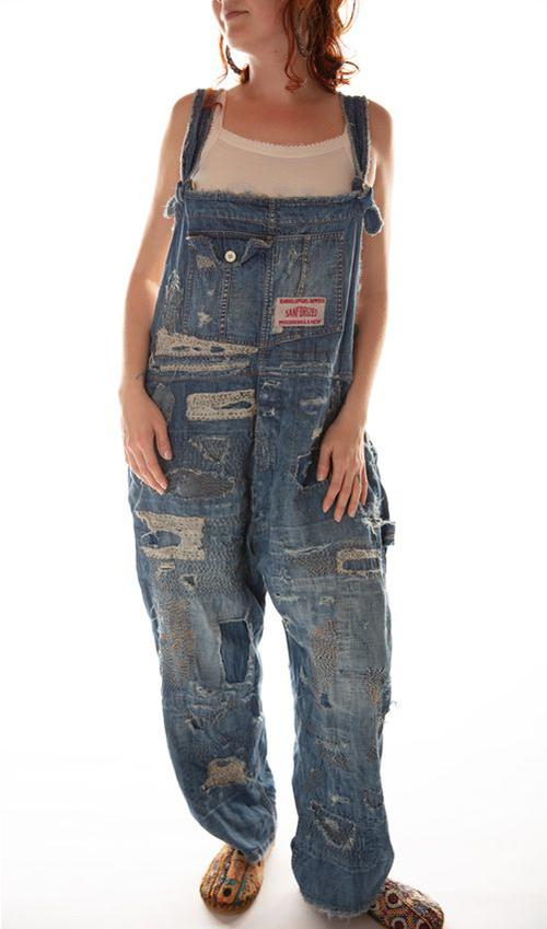 Cotton Denim Henrys Favorite Overalls with Patching, Mending and Distressing, Magnolia Pearl