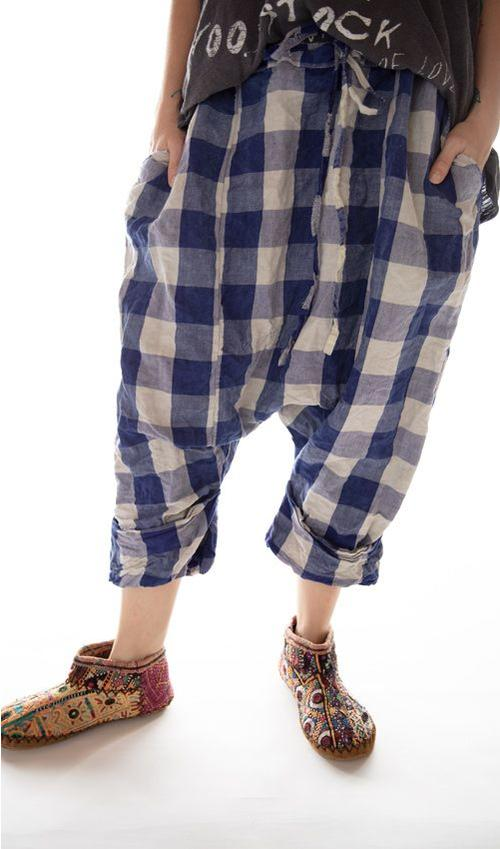 Cotton Linen Samantha Drawstring Pants with Dropped Rise, Pockets and Cuffed Legs, Magnolia Pearl