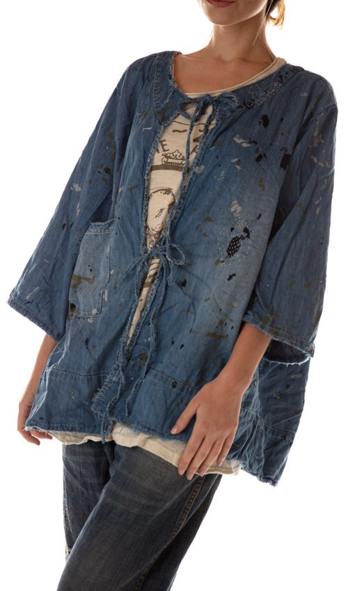 Cotton Denim Split Salvador Painter's Smock with Front Pocket, Patches, Mending and Distressing, Magnolia Pearl