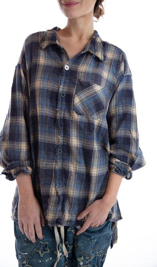 Cotton Flannel Adison Workshirt with Mixed Buttons and Hand Mending, Magnolia Pearl