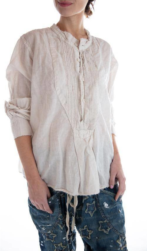 Linen Adrey Cropped Night Shirt with Button Placket and Pintuck Bib, Magnolia Pearl