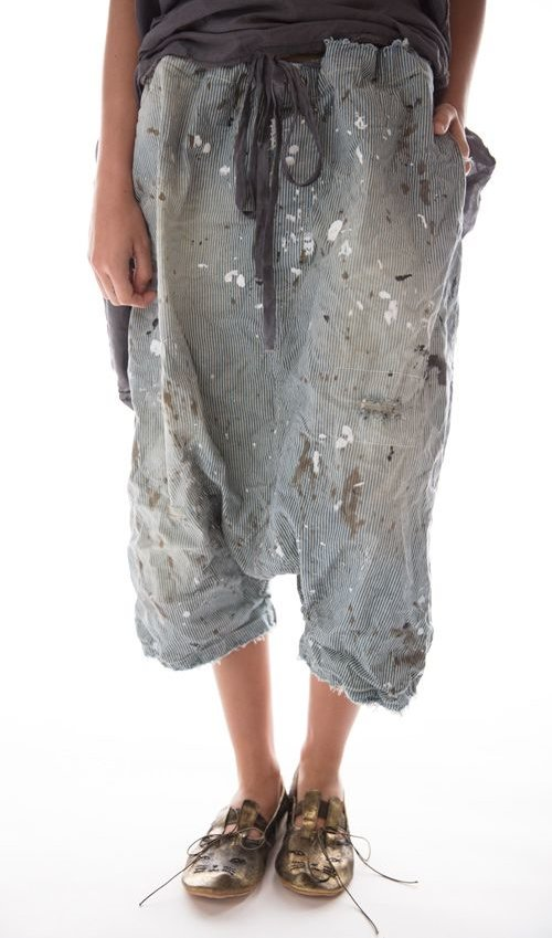 Cotton Frankie Denims with Hand Age, Distressing and Mending, Drawstring Waist, Magnolia Pearl