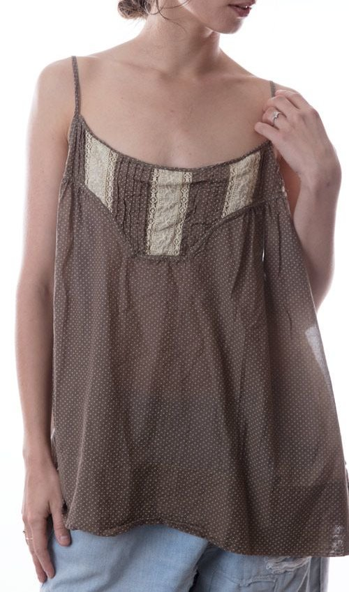 Cotton Silk Ottilia Tank with Adjustable Straps, Lace Insets, and Pleats