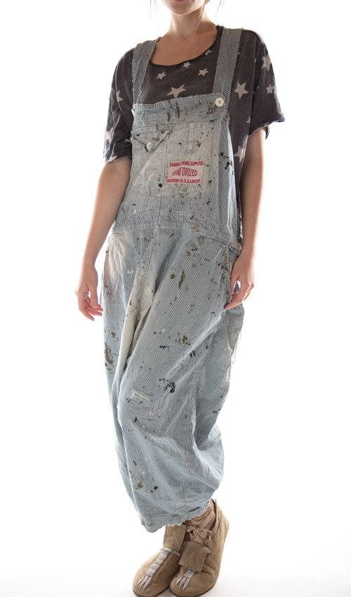 Cotton Frankie Overalls with Hand Age, Distressing and Mending,  Magnolia Pearl