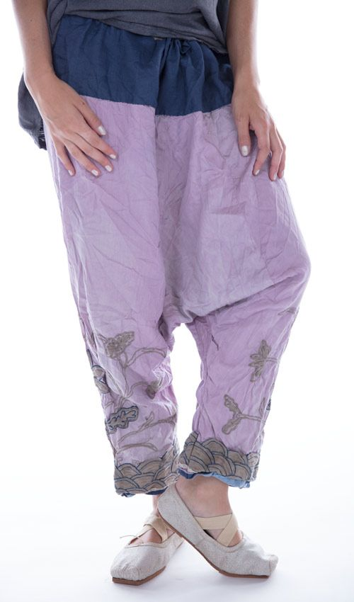 Silk Embroidered Joon Pongee Pant with Cotton Linen Waist and Drawstring, Magnolia Pearl