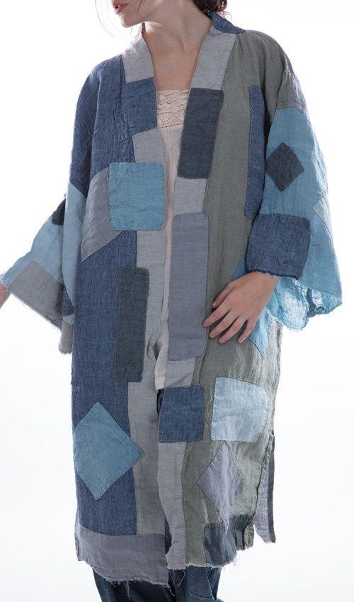 Linen Novalie Kimono with Patches