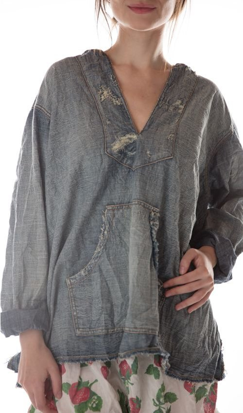 Cotton Denim Baja Poncho with Mending, Patching and Distressing, Magnolia Pearl