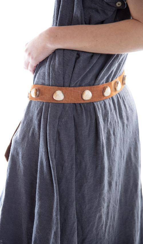 11 Piece Raw Walrus Tusk Belt, Tan Leather, Magnolia Pearl