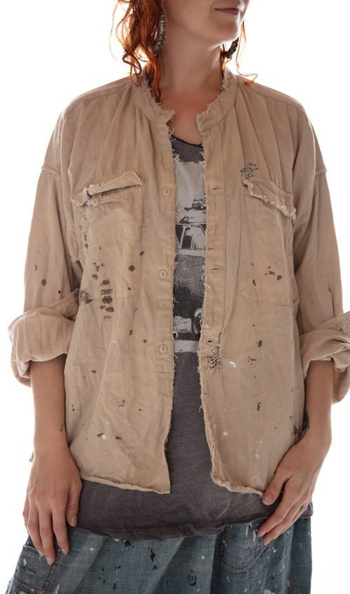 Cotton Twill Otto Uniform Shirt with Distressing and Mending, Magnolia Pearl