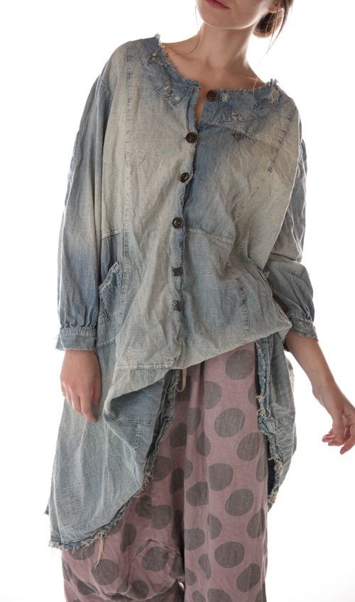 Cotton Denim Daveney Smockdress with Pockets, Mixed Buttons, Mending and Sun Fading, Magnolia Pearl