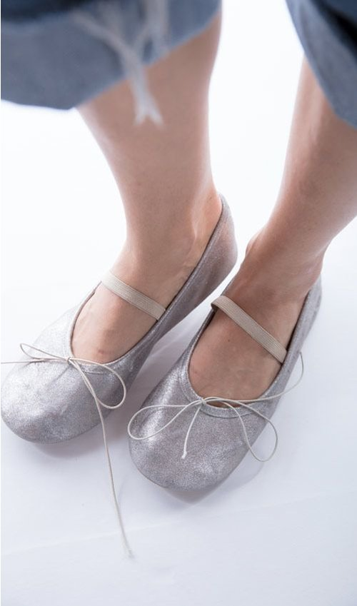 All Leather Mazzy Ballet Shoes, Magnolia Pearl