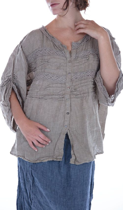 Linen Svanna Long Sleeve Top with Button Down Front, Horizontal Pleats, Gathered Sleeves, and Lace