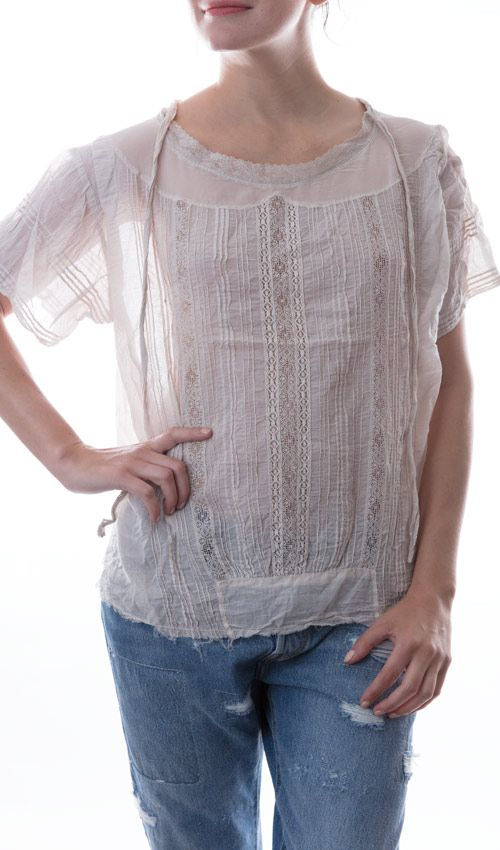 European Cotton Ulla Top with Pin Tucks, Lace, Short Sleeves, Buttons Down the Back and a Silk Chiffon Collar