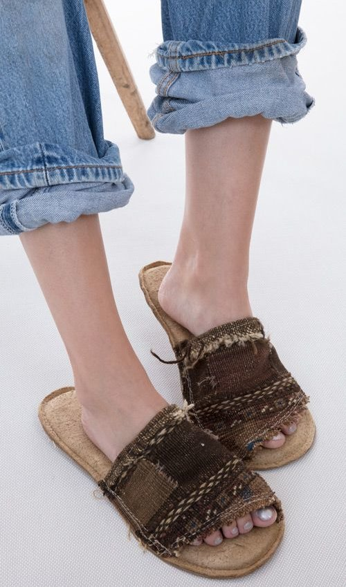 Handmade French Carpetbagger Slides Made From Distressed Leather with Leather Sole, Magnolia Pearl