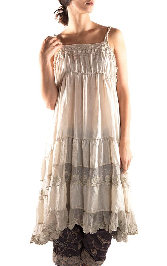 Satin Silk Tallulah Slip Dress with Cotton Laces, Cotton Tulle Embroidery and Side Snaps, Magnolia Pearl