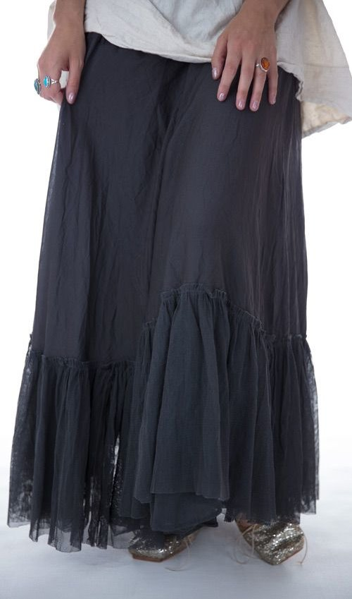 Silk Amoret Skirt with Gathered French Cotton Tulle