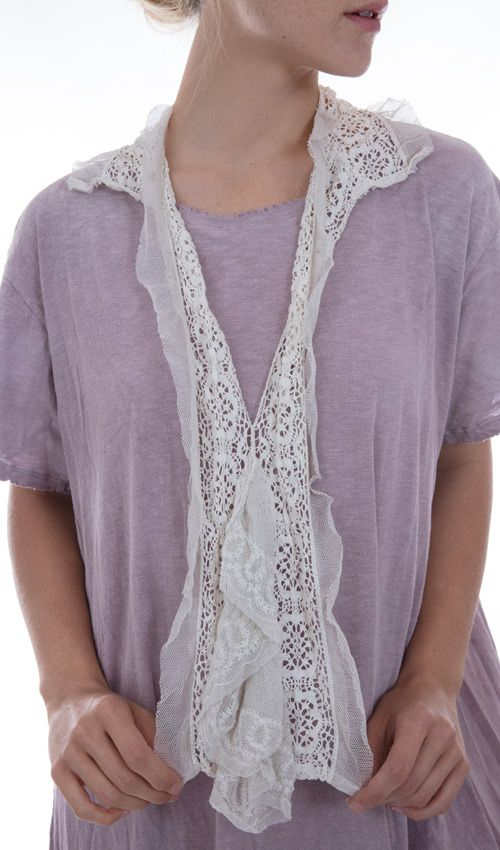 Embroidered Cotton tule Nerys French Jabot, with Cotton Lace Collar, Magnolia Pearl