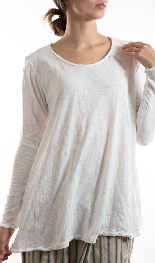 Cotton Jersey Dylan T, Rounded Neck, Long Tapered Sleeves, Magnolia Pearl