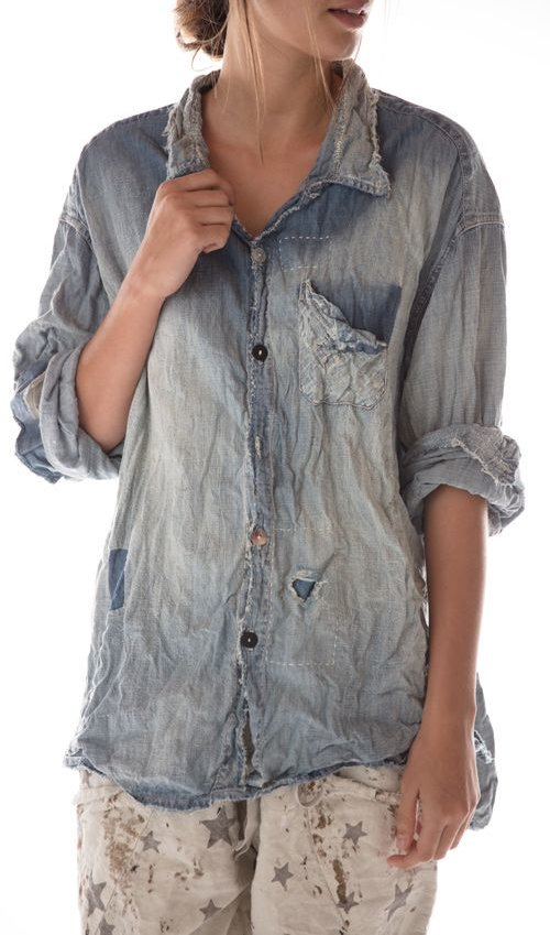 Cotton Denim Adison Workshirt with Mixed Buttons, Distressing, Patching and Hand Mending, Magnolia Pearl