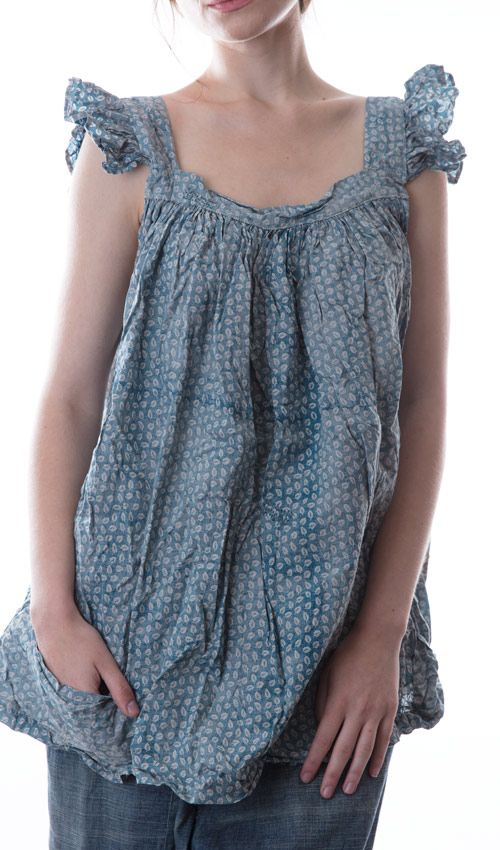 European Cotton Elma Tank with Ruffled Shoulder Strap, Pockets and Handstitched Mending