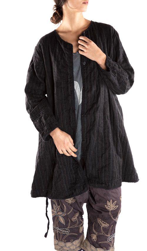 Pinstriped Wool, Soren Coat, Cotton Twill Lining, Magnolia Pearl