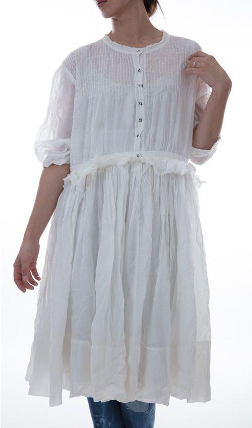European Cotton Monique Dress with One Half Sleeves, Pin Tucks, Hand Stitched Snaps in Front, and Ruffle at the Waist