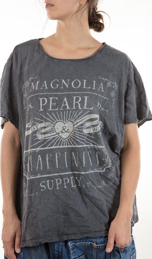 Cotton MP Happiness T, New Boyfriend, with Hand Distressing, Magnolia Pearl