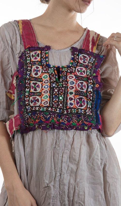 Indigo Cage Vest with Antique Indian Embroiderey, Medium, Gypsy Shoot, Magnolia Pearl