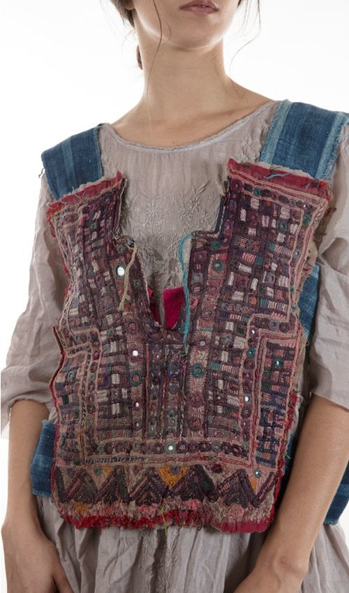 Indigo Cage Vest with Antique Indian Embroiderey, Medium, Gypsy Shoot, Magnolia Pearl